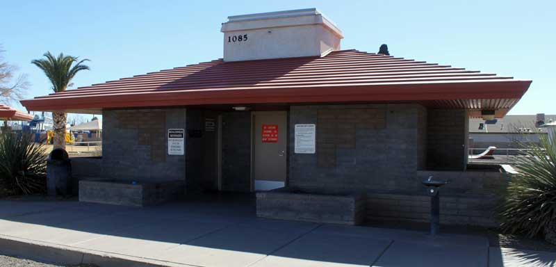 Jon Johnson Photo/Gila Valley News: A homeless man was found injured in the Firth Park restroom area, Friday.