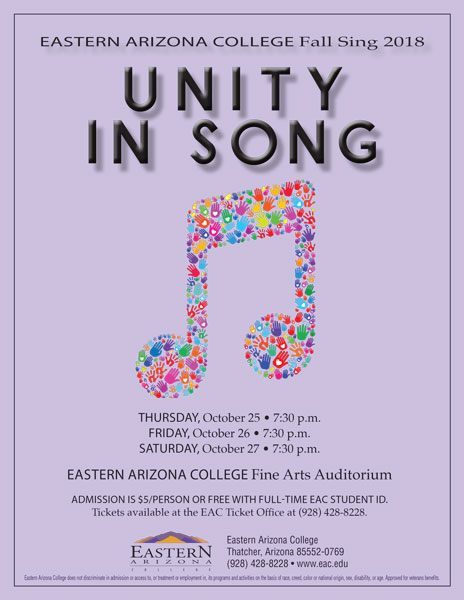 EAC's Fall Sing 2018: Unity in Song takes the stage October